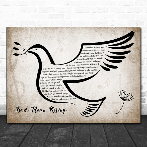 Creedence Clearwater Revival Bad Moon Rising Vintage Dove Bird Song Lyric Art Print