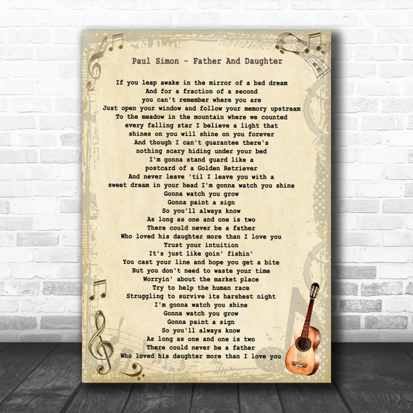 Paul Simon Father And Daughter Vintage Guitar Song Lyric Art Print