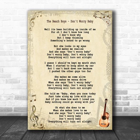 The Beach Boys Don't Worry Baby Song Lyric Music Wall Art Print