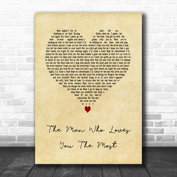 Zac Brown Band The Man Who Loves You The Most Vintage Heart Song Lyric Art Print