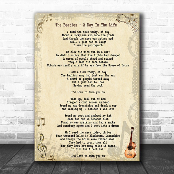 The Beatles A Day In The Life Song Lyric Music Wall Art Print