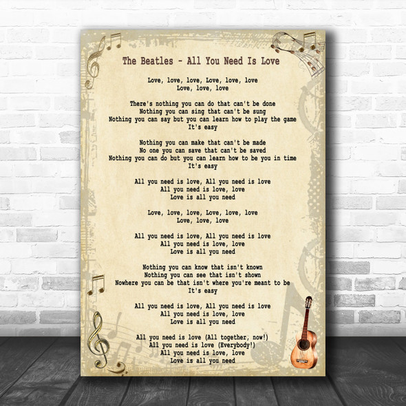 The Beatles All You Need Is Love Song Lyric Music Wall Art Print
