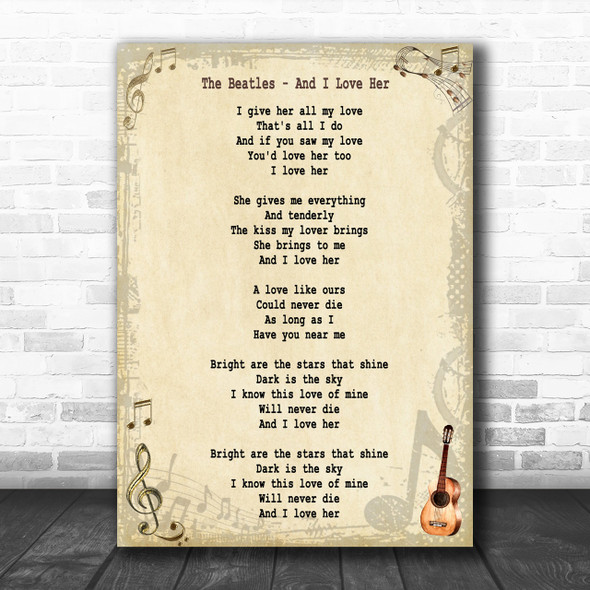 The Beatles And I Love Her Song Lyric Music Wall Art Print
