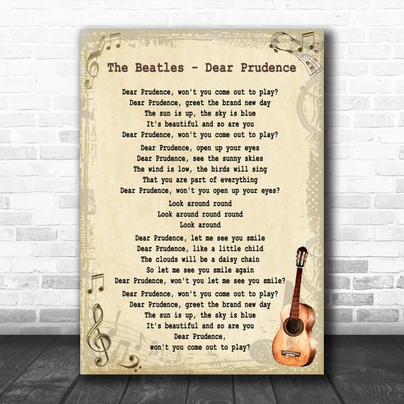 The Beatles Dear Prudence Song Lyric Vintage Music Wall Art Print