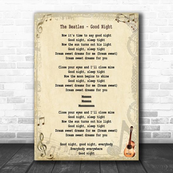 The Beatles Good Night Song Lyric Music Wall Art Print