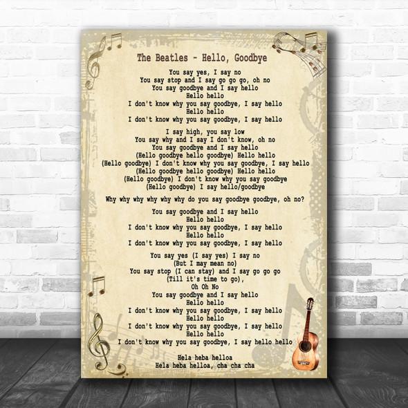 The Beatles Hello, Goodbye Song Lyric Music Wall Art Print