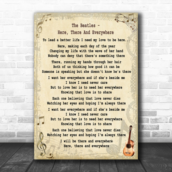 The Beatles Here, There And Everywhere Song Lyric Music Wall Art Print