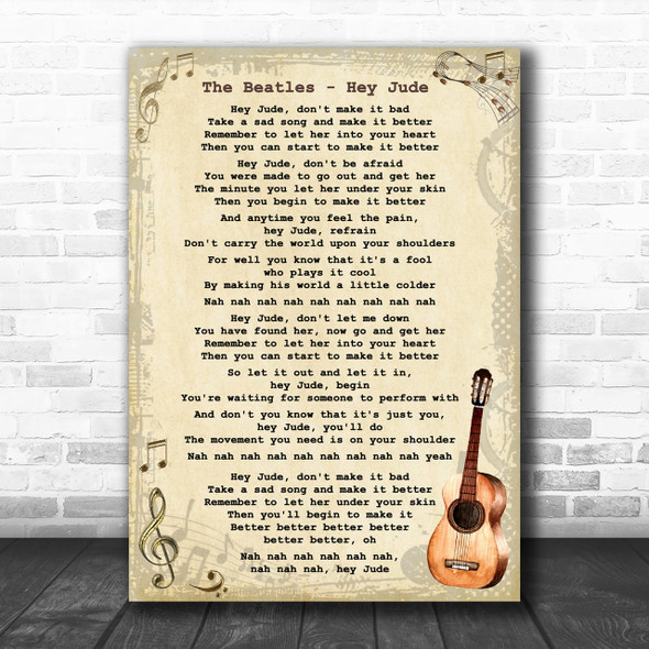The Beatles Hey Jude Song Lyric Vintage Music Wall Art Print