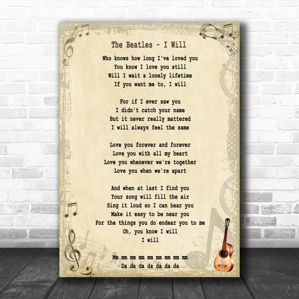 The Beatles I Will Song Lyric Music Wall Art Print