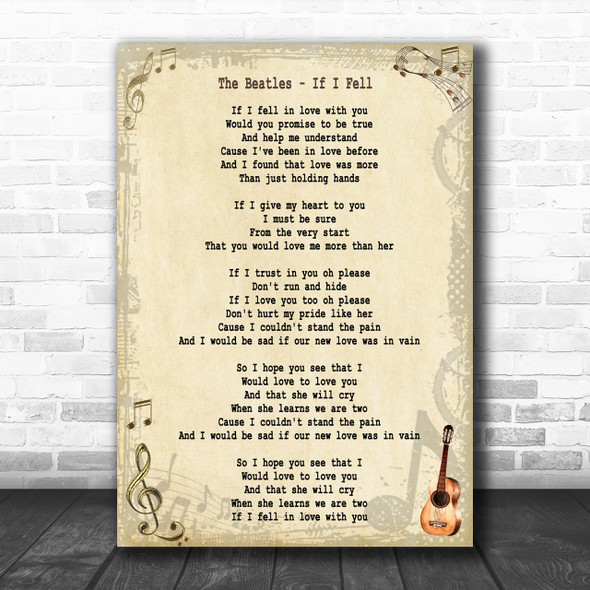 The Beatles If I Fell Song Lyric Music Wall Art Print