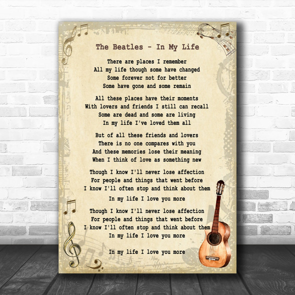 The Beatles In My Life Song Lyric Vintage Music Wall Art Print