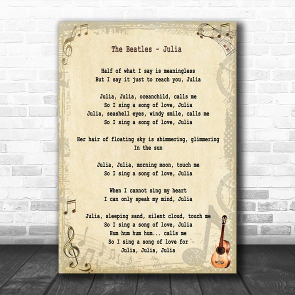 The Beatles Julia Song Lyric Music Wall Art Print