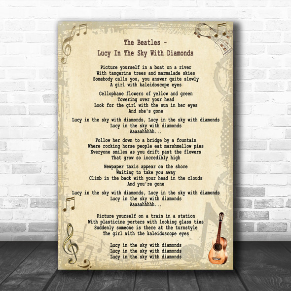 The Beatles Lucy In The Sky With Diamonds Song Lyric Music Wall Art Print