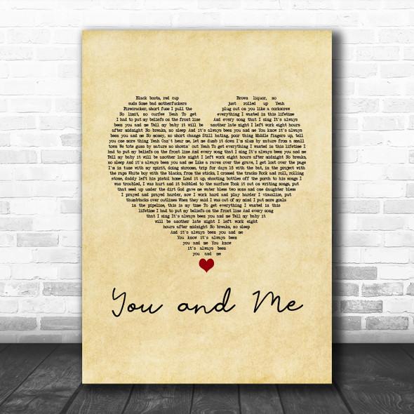 Yelawolf You and Me Vintage Heart Song Lyric Art Print