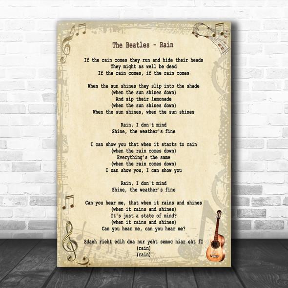 The Beatles Rain Song Lyric Music Wall Art Print