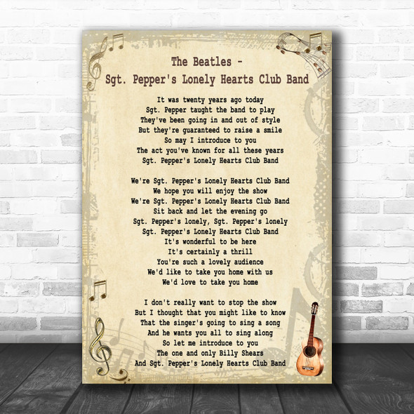 The Beatles Sgt Pepper's Lonely Hearts Club Band Song Lyric Music Wall Art Print