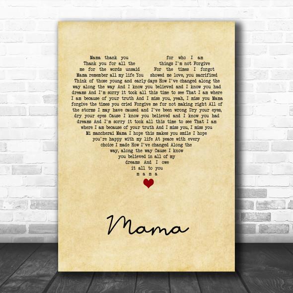 Il Divo Mama Vintage Heart Song Lyric Art Print