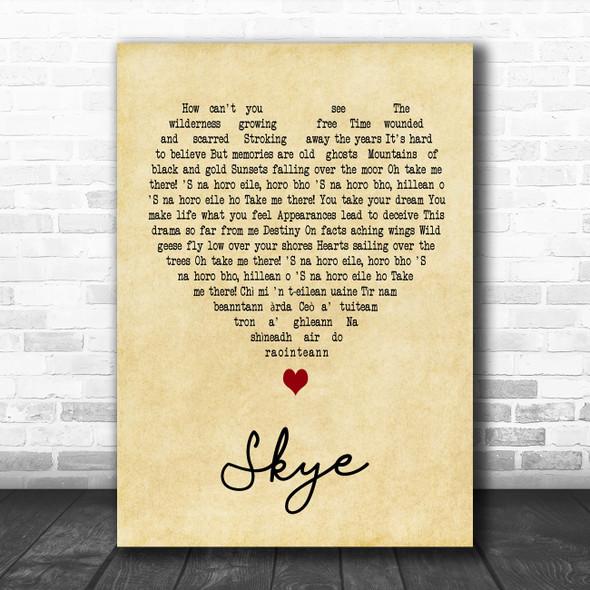 Runrig Skye Vintage Heart Song Lyric Art Print