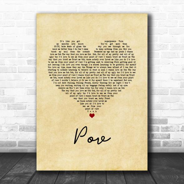 Ariana Grande pov Vintage Heart Song Lyric Art Print
