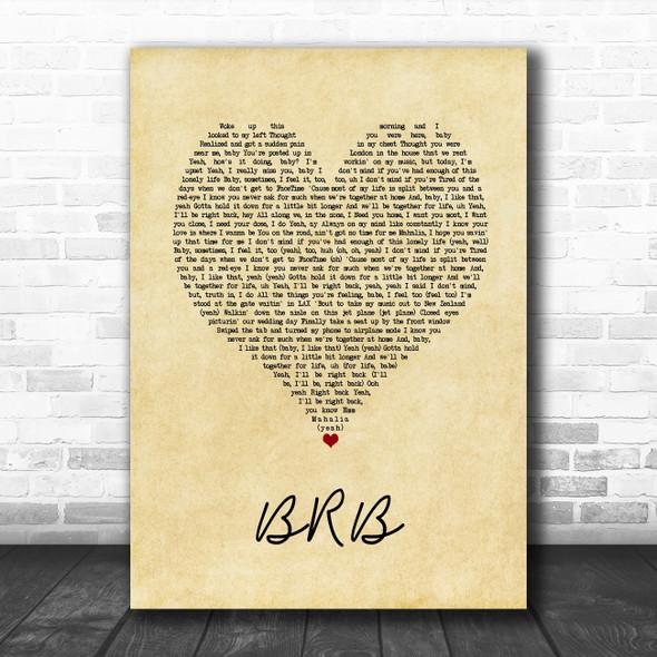 Mahalia BRB Vintage Heart Song Lyric Art Print