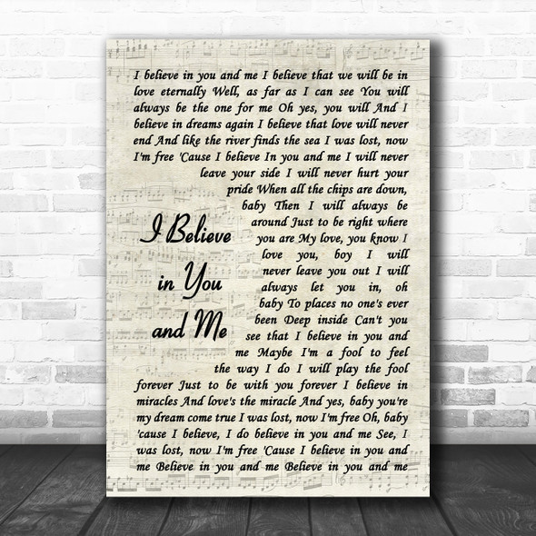 Whitney Houston I Believe in You and Me Vintage Script Song Lyric Art Print