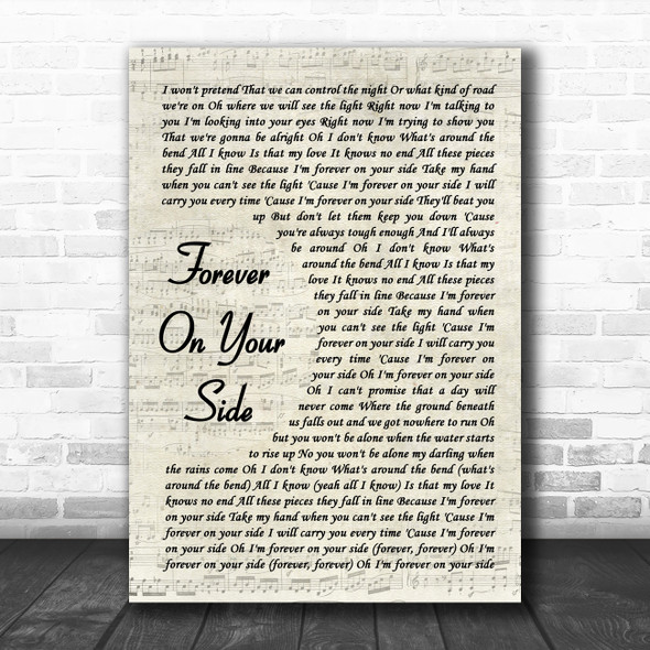 NEEDTOBREATHE Forever On Your Side Vintage Script Song Lyric Art Print
