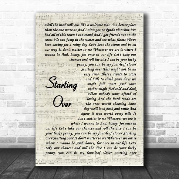 Chris Stapleton Starting Over Vintage Script Song Lyric Art Print