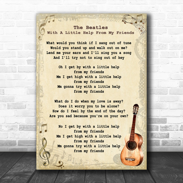 The Beatles With A Little Help From My Friends Song Lyric Vintage Music Wall Art Print