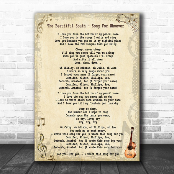 The Beautiful South Song For Whoever Song Lyric Music Wall Art Print