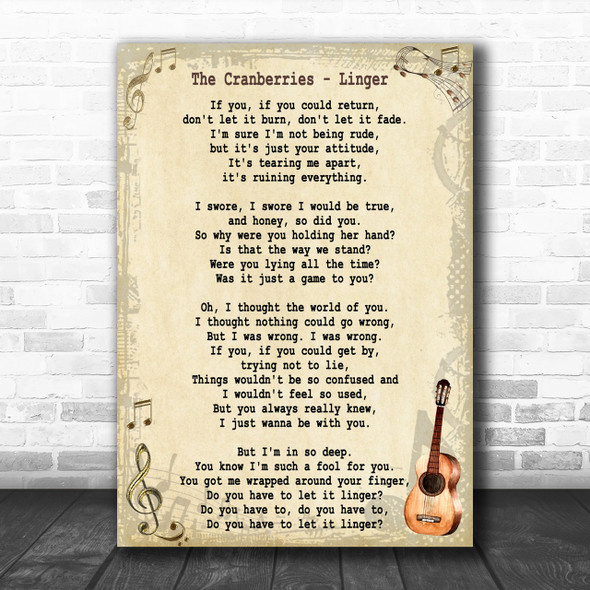 The Cranberries Linger Song Lyric Vintage Music Wall Art Print