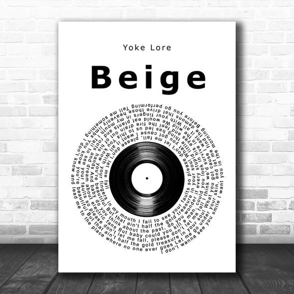 Yoke Lore Beige Vinyl Record Song Lyric Art Print
