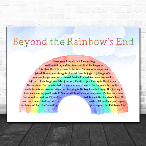 Daniel O'Donnell Beyond the Rainbow's End Watercolour Rainbow & Clouds Song Lyric Art Print