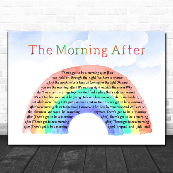 Maureen McGovern The Morning After Watercolour Rainbow & Clouds Song Lyric Art Print