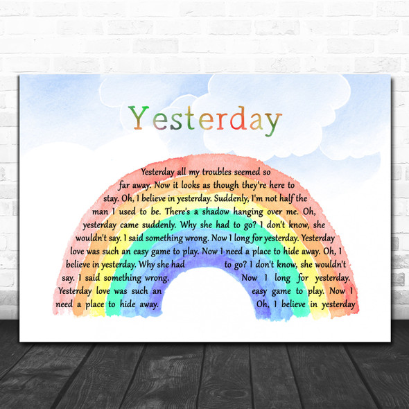 The Beatles Yesterday Watercolour Rainbow & Clouds Song Lyric Art Print