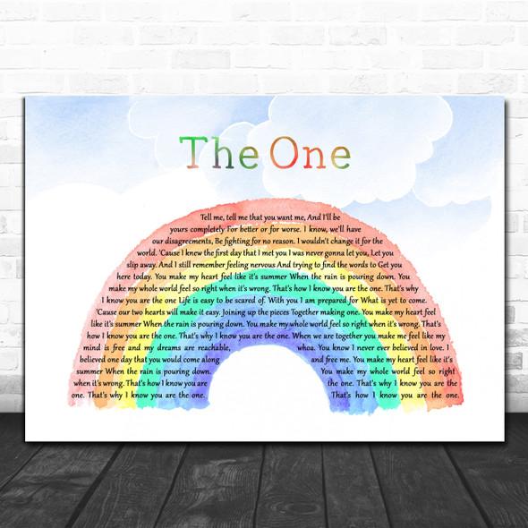 Kodaline The One Watercolour Rainbow & Clouds Song Lyric Art Print
