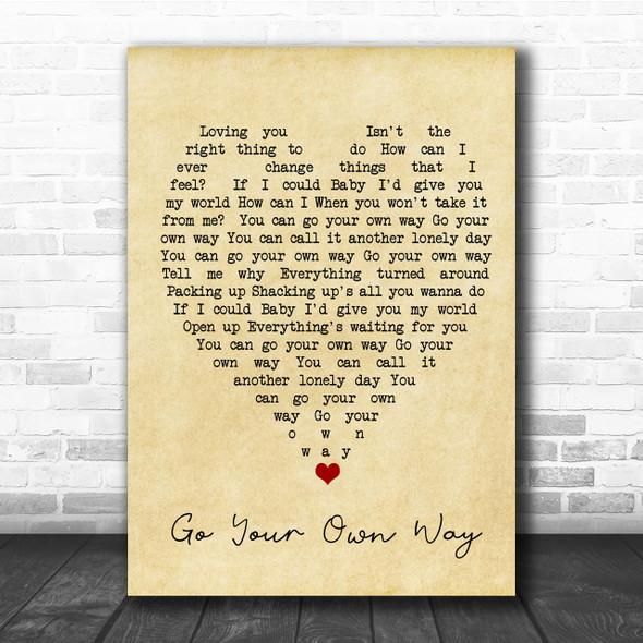 Go Your Own Way Fleetwood Mac Vintage Heart Song Lyric Music Wall Art Print