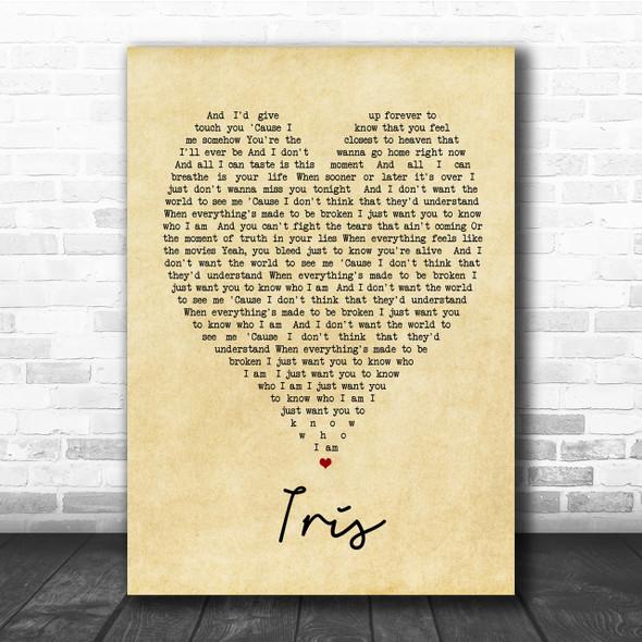 Iris Goo Goo Dolls Vintage Heart Song Lyric Music Wall Art Print