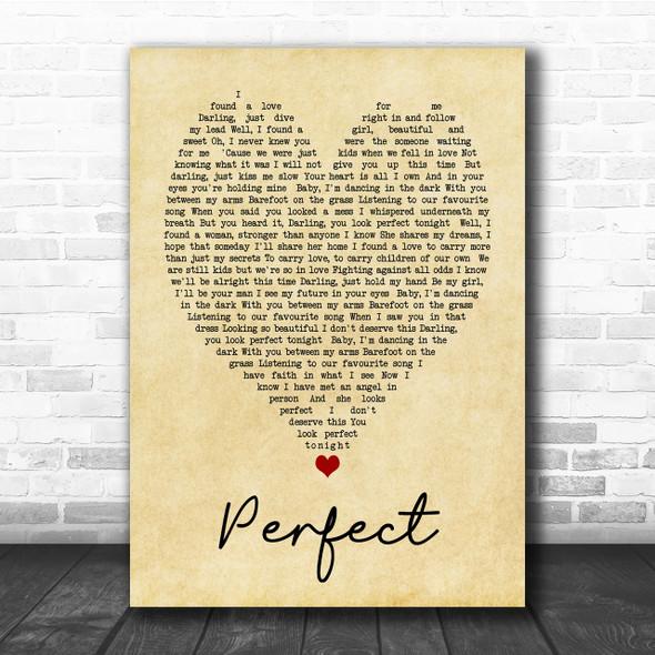 Perfect Ed Sheeran Vintage Heart Song Lyric Music Wall Art Print