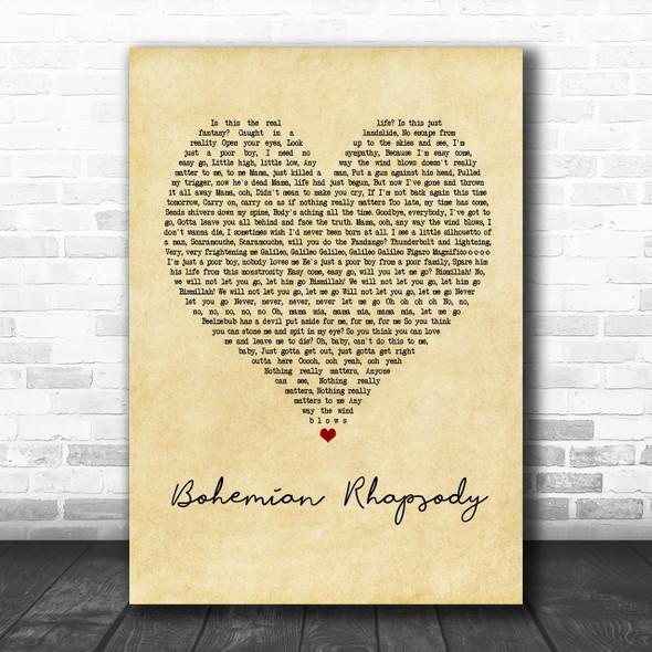Queen Bohemian Rhapsody Vintage Heart Song Lyric Music Wall Art Print