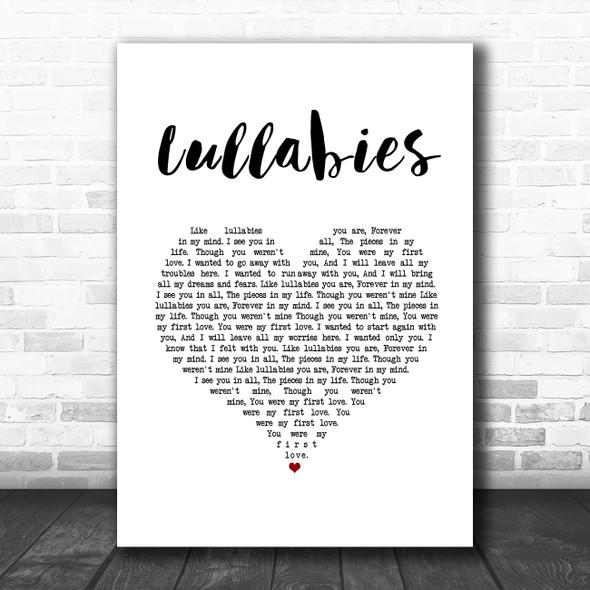 Yuna Lullabies White Heart Song Lyric Art Print