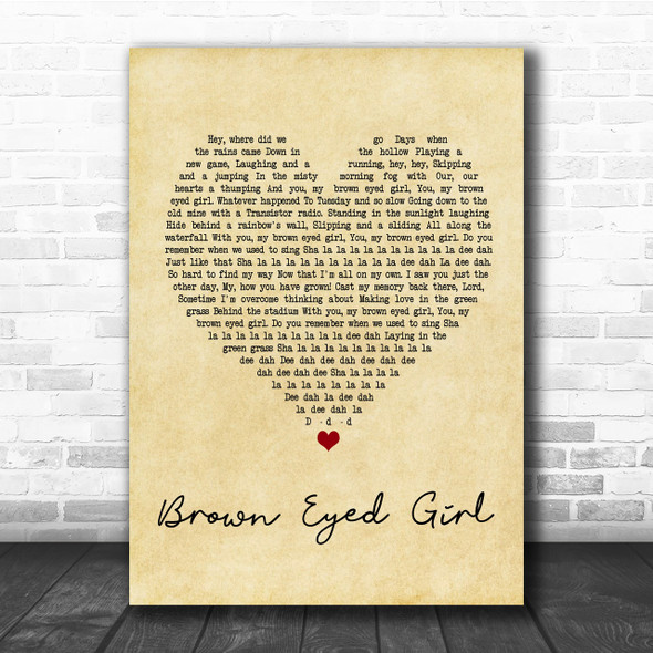 Van Morrison Brown Eyed Girl Vintage Heart Song Lyric Music Wall Art Print