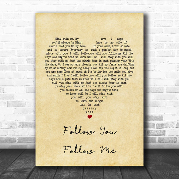 Genesis Follow You Follow Me Vintage Heart Song Lyric Music Wall Art Print