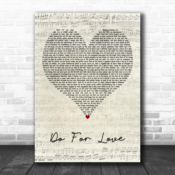 2Pac Do For Love Script Heart Decorative Wall Art Gift Song Lyric Print