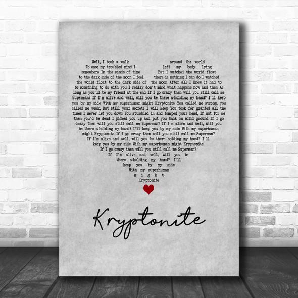 3 Doors Down Kryptonite Grey Heart Decorative Wall Art Gift Song Lyric Print