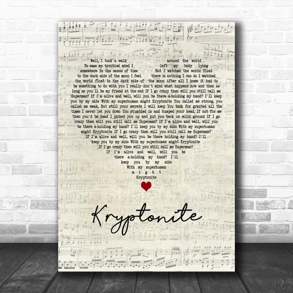 3 Doors Down Kryptonite Script Heart Decorative Wall Art Gift Song Lyric Print