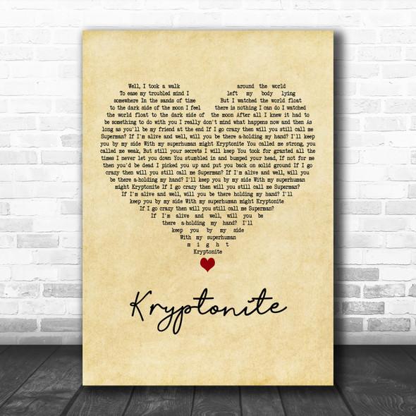3 Doors Down Kryptonite Vintage Heart Decorative Wall Art Gift Song Lyric Print
