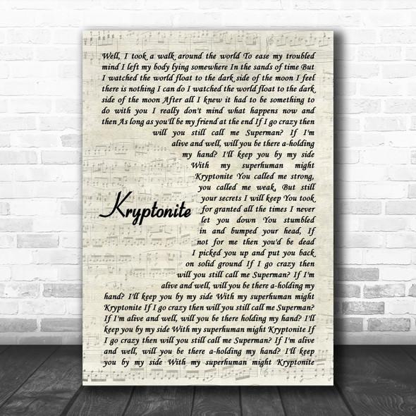 3 Doors Down Kryptonite Vintage Script Decorative Wall Art Gift Song Lyric Print