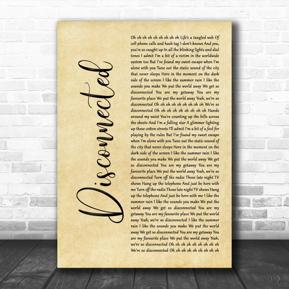 5 Seconds Of Summer Disconnected Rustic Script Decorative Wall Art Gift Song Lyric Print