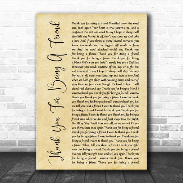 Andrew Gold Thank You For Being A Friend Rustic Script Decorative Gift Song Lyric Print