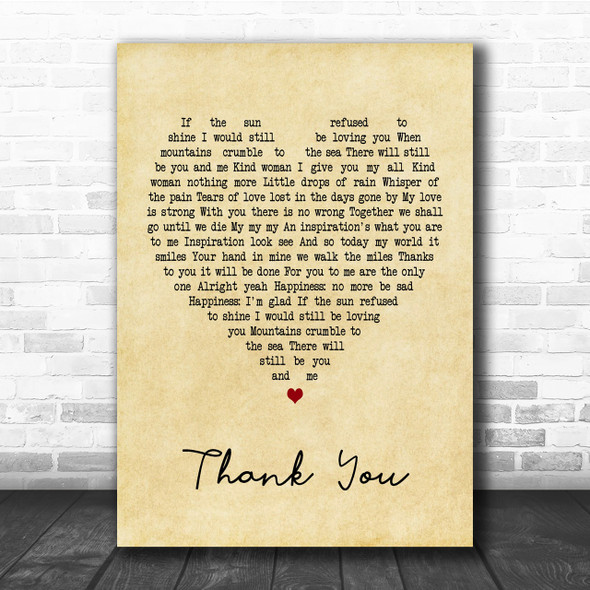 Led Zeppelin Thank You Vintage Heart Song Lyric Music Wall Art Print